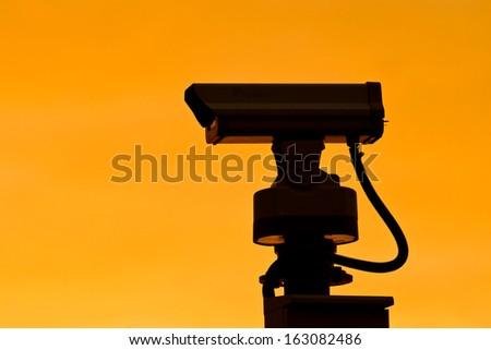 cctv silhouette  - stock photo