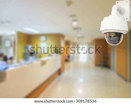 CCTV system security in working room of hospital blur background. - stock photo