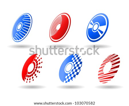 CD and DVD symbols and icons set for design, such logo. Vector version also available in gallery - stock photo