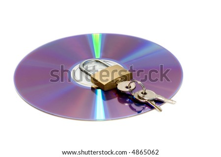CD and padlock isolated on white - stock photo