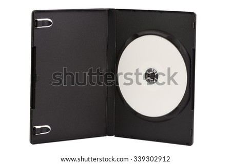 CD case with blank DVD disc isolated on white background - stock photo
