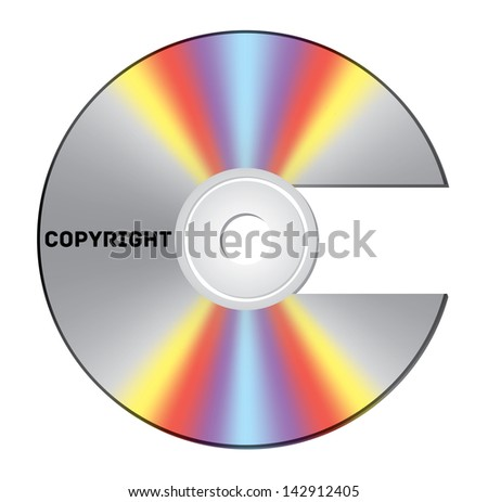 CD cut out as copyright sign with note