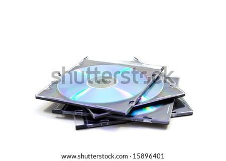 cd disk isolated on white - stock photo