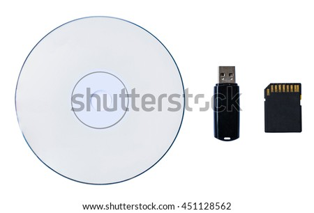 CD/DVD, Black usb and memory SD card isolated on white background - stock photo