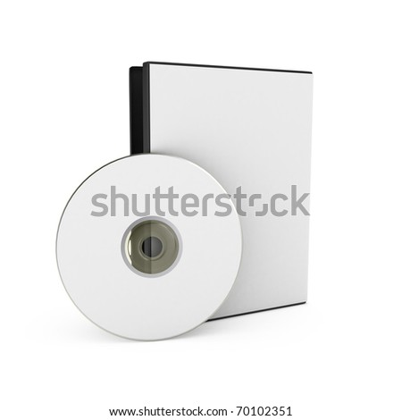 CD/DVD disk with box over white background. 3d render - stock photo