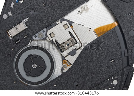 CD DVD Reading, Laser head of CD DVD. - stock photo