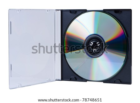 CD in the open box  isolated on white background without shadow. Clipping paths. - stock photo