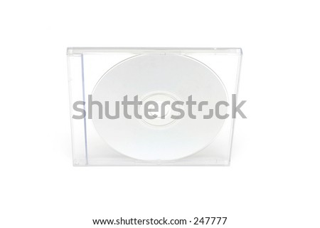 CD jewel case on white background - stock photo