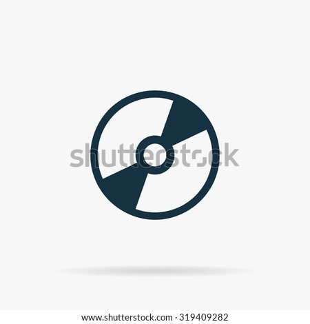CD or DVD. Flat web icon or sign on grey background with shadow. Collection modern trend concept design style illustration symbol - stock photo