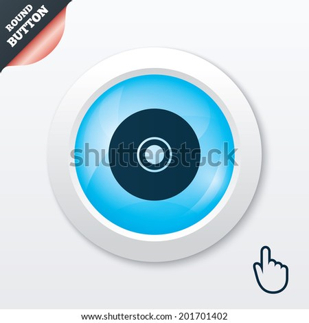 CD or DVD sign icon. Compact disc symbol. Blue shiny button. Modern UI website button with hand cursor pointer. - stock photo