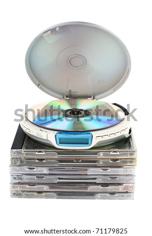CD-player with compact discs. White background. Studio shot. - stock photo