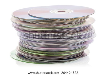 CD stack isolated on the white background - stock photo