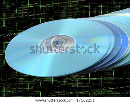 CDs DVDs Blu-ray Stack of Blue Disks Discs with Programming Code Background - stock photo
