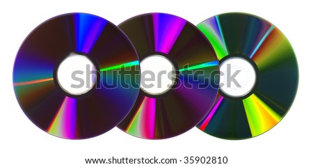 CDs/DVDs isolated on white background