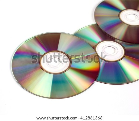 CDs / DVDs isolated on white background, technologies