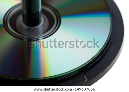 cds on a spindle  - stock photo