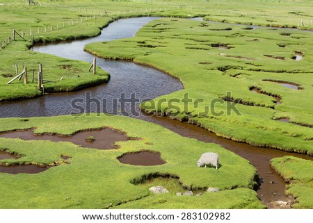 Ceapabhal hill and tidal inlets or saltings at An Taobh Tuath or Northton on the Isle of Harris, Scotland. - stock photo
