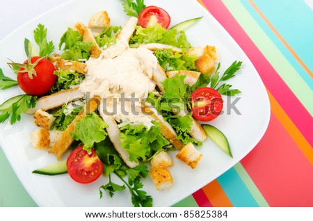 Ceasar salad in the plate