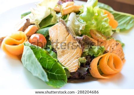 ceasar salad with grill salmon