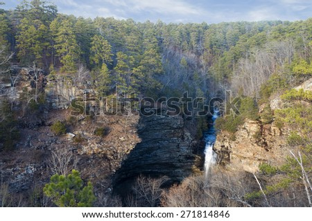 Cedar  Falls  from the  observation deck. State Park Petit Jean, Arkansas, United States - stock photo