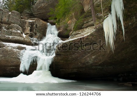 Cedar Falls in the hocking hills of southern Ohio. - stock photo