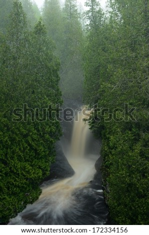 Cedar Trees and Waterfall on the Cascade River,  Cascade River State Park in Minnesota - stock photo