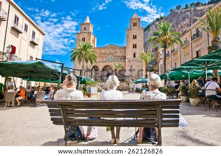CEFALU, SICILY - SEP 16,2014: Main square on Sep 16, 2014  in Cefalu, medieval city of Sicily, Italy. It situated on the northern coast of Sicily, about 70 km from Palermo. - stock photo