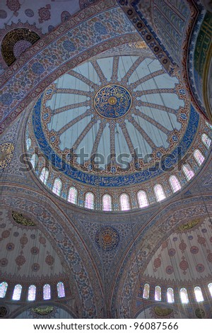 Ceiling Blue Mosque Istanbul - stock photo