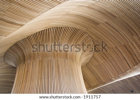 Ceiling details of Welsh Assembly Government Building. Reflecting the forms of a sandy beach. - stock photo
