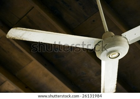 ceiling fan in outdoor cabana - stock photo
