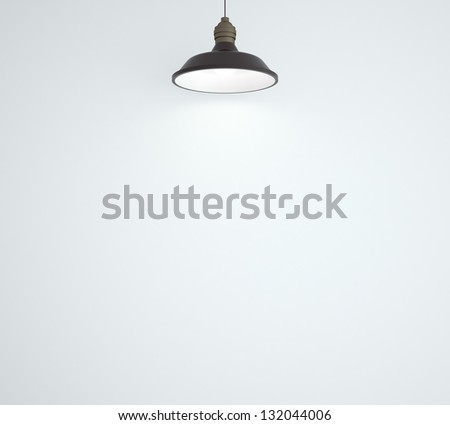 ceiling lamp and white wall - stock photo