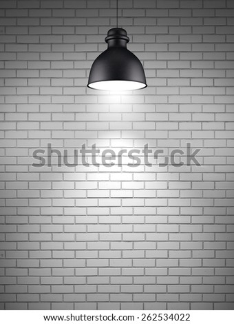 ceiling lamp at brick wall background  - stock photo