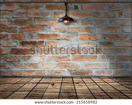 Ceiling lamp whit Brick wall - stock photo
