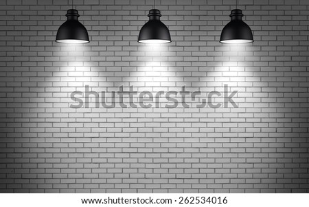 ceiling lamps at brick wall background  - stock photo