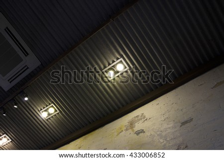 Ceiling light , Down-light in the dark ,downlight at wall interior . - stock photo