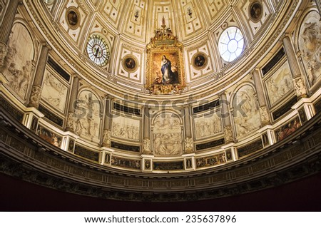 Ceiling of Seville cathedral, Spain, view from below - stock photo