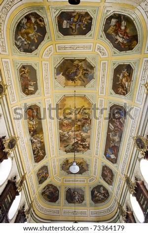 ceiling of the anscient public Ursino library,catania, sicily, italy