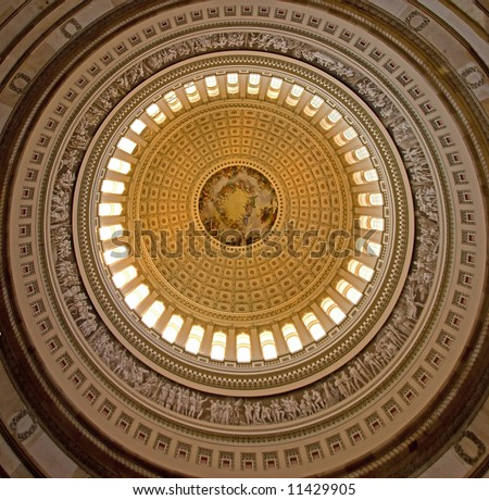Ceiling of the rotunda, capitol building in washington dc, united states of america - stock photo