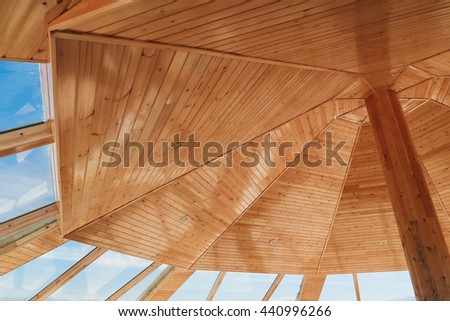 Ceiling of wood pavilion - stock photo