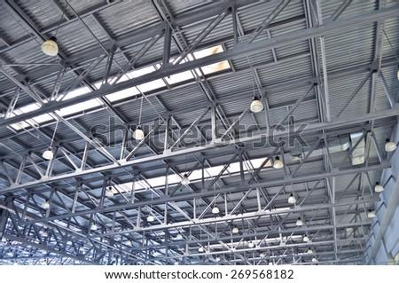 ceiling slabs in industrial buildings - stock photo