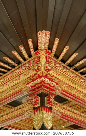 Ceiling with beautiful ornament in Yogyakarta Sultanate Palace - stock photo