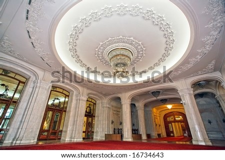 ceiling with crystal chandelier in Bucharest parliament palace