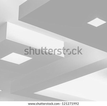 Ceiling with modern design and lighting - stock photo
