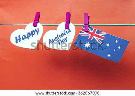 Celebrate australia day holiday on january stock photo royalty free celebrate australia day holiday on january 26 with a happy message greeting written across white hearts m4hsunfo