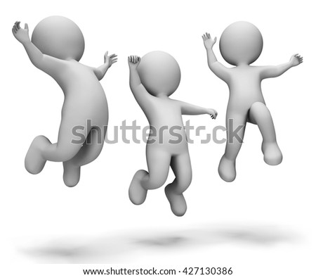 Celebrate Characters Indicating Happy Cheerful And Jumps 3d Rendering - stock photo