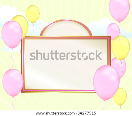Celebrate good news with this pastel pink and yellow baby shower announcement. This balloon filled template can also be used for scrapbooking and birthday party invitations. - stock photo