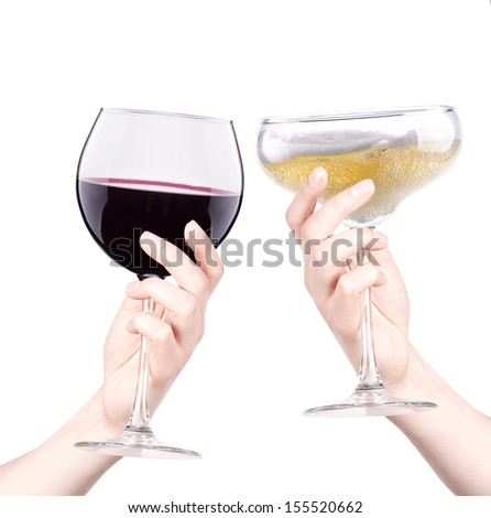 celebrate the holiday background - hands with wine and champagne making toast
