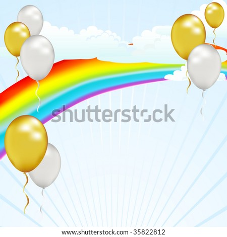 Celebrate with this light hearted balloon and rainbow background. - stock photo