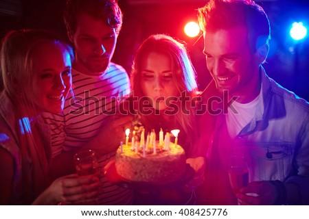 Celebrating birthday - stock photo