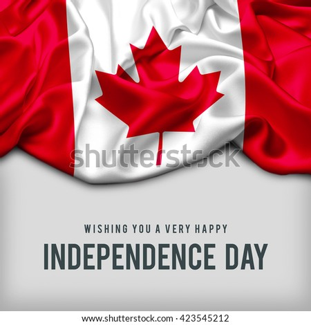 Celebrating Canada Independence Day. Abstract waving flag on gray background - stock photo